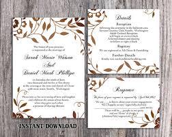 DIY Wedding Invitation Template Set Editable Word File Instant Download Printable Leaf Rustic Gold Elegant