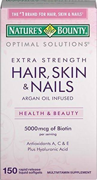 Nature's Bounty Optimal Solutions Hair, Skin & Nails Coated Caplets Extra Strength 150 CP - Buy Packs and Save (Pack of 4)