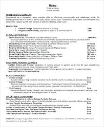 Sample Resume For Nurses With Experience Entry Level Nursing Template Newly Registered Nurse