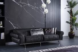 casa padrino luxus deco wohnzimmer sofa schwarz silber 240 x 95 x h 63 cm luxus wohnzimmer möbel