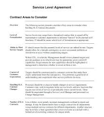 Outsourcing Contract Template Ndard Service Level Agreement Internal Sample Printable