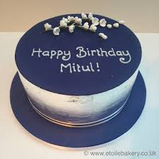 Navy and silver birthday cake