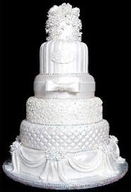 Six tier Victorian wedding cake with beautiful detail on each tier