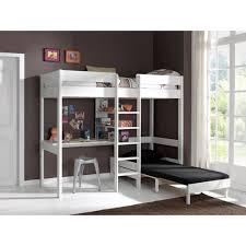 pino lit mezzanine canapé extensible blanc achat vente lit