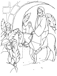 Childrens Palm Sunday Coloring Page Of Christ Coming Into Jerusalem On Donkey And People Praising Him