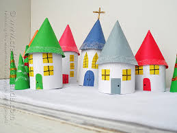 How To Make A Christmas Village With Paper Tube Rolls
