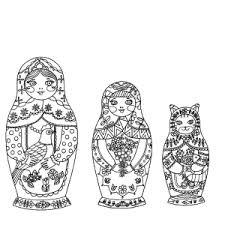 FreeDownload RussianDolls FourSeasons 1 Free Coloring Project Download Pdf Matryoshka Dolls From FOUR SEASONS A COLORING BOOK
