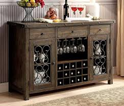 Furniture Of America CM3465SV Paulina Rustic Walnut Server Dining Room Buffet