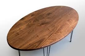 Left Closeup Walnut Oval Kitchen Table