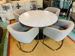 Mondavi Round White Marble Dining Table