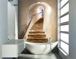 Wallpaper Ideas For Staircase Walls Bathroom Small Decor Landscape Photo Accent Wall