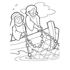 Jesus With Simon Catching Fishes Coloring Page Of Peter