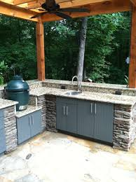 Outdoor Kitchen Bar With Granite And Sink Top Plus Big Green Egg