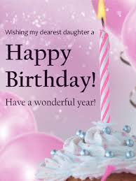 Pink Candle Birthday Cupcake Card for Daughter