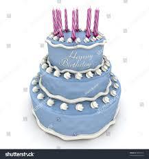 3d Rendering Big Blue Birthday Cake Stock Illustration
