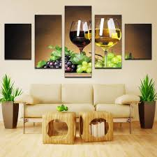Grape Wall Decor For Kitchen by 5 Panel Canvas Art Fruit Grape Wine Glass Pictures For Kitchen Or