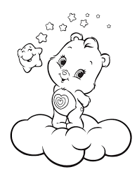 Care Bears Posing Above The Clouds Coloring Pages For Kids Printable