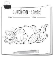 Coloring Worksheet With A Fat Cat And Pencil On White Background
