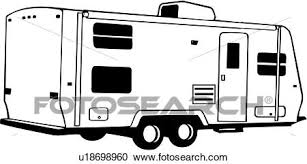 Clipart Of Camper Recreation Recreational Rv Trailer