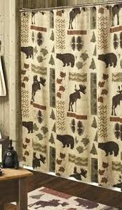 Bathroom Sets With Shower Curtain Cabin Moose And Bear 5 Piece