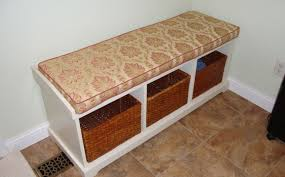 bench graceful magnificent dark wood indoor padded bench