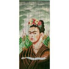 Natural Bamboo Beaded Door Curtain by Frida Kahlo Bamboo Curtain Maiden