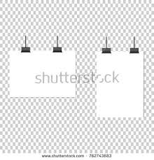 White Poster Hanging On Binder Transparent Stock Vector 2018 Blank Paper Background
