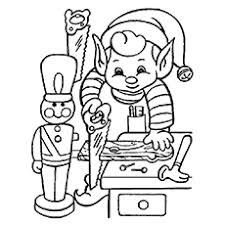 Coloring Christmas Elf To Print Picture Free Eve Sheet
