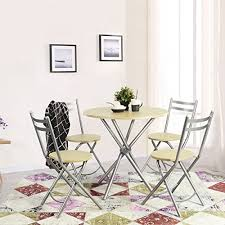 Ihouse 5 Piece Wood Patio Round Dining Tea Coffee Table And Folding Chairs Set For Kitchengarden Outdoor