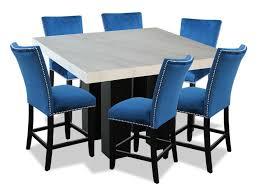 100 Desjardins Elegance Cami 7Piece CounterHeight Dining Set Blue