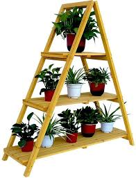 Outdoor Patio Plant Stands by Wooden Ladder Plant Stand Outdoor Indoor Three Layer Shelf Book