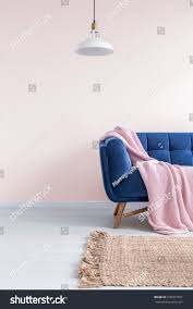 light pink living room blue sofa stock photo 578977561