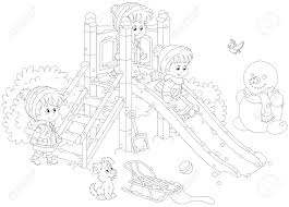 Little Children Playing On A Slide At Playground In Winter Park Stock Vector