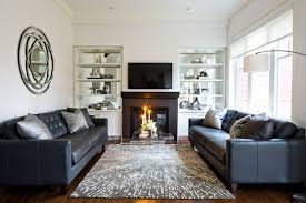 jane lockhart family room with leather sofa transitional