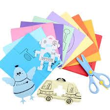 120 Sheets DIY Kindergarten Kids Gift Handmade Paper Book Toy Cutting Plastic Safe Scissors