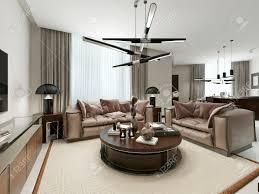 zimmer studio in einem modernen design mit wohnzimmer küche und esszimmer die warmen braun und beigetönen