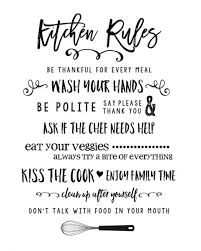 FREE Kitchen Rules Printable