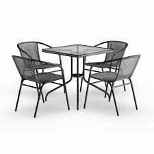 Havenside Home Bellport 5-piece Square Metal/ Glass Table With Rattan  Chairs Set Jack Daniels Whiskey Barrel Table With 4 Stave Chairs And Metal Footrest Ask For Freight Quote Goplus 5 Pcs Black Ding Room Set Modern Wooden Steel Frame Home Kitchen Fniture Hw54791 30 Round Silver Inoutdoor Cafe 0075modern White High Gloss 2 Outdoor Table Chairs Metal Cafe Two Stock Photo 70199 Alamy Stainless 6 Arctic I Crosley Kaplan 4piece Patio Seating Oatmeal Cushion Loveseat 2chairs Coffee Rustic And Pieces Glass Tabletop Diy Patterns Pads Brown Tufted Target Grey