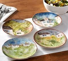 Watercolor Farmhouse Salad Plates Mixed Set of 4