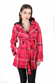 new ladies button hooded checked jacket belted womens coat sizes 8
