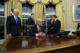 What Is A Muslim Prayer Curtain by President Trump Signs First Orders In Oval Office Daily Mail Online