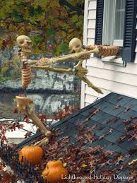 Halloween Skeletons Climbing A House Creepy Outdoor Decorating