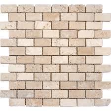 MSI Chiaro Brick 12 in x 12 in x 10 mm Tumbled Travertine Mesh