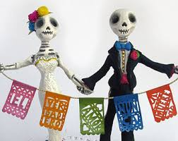 Alternative Wedding Cake Toppers Skeleton Day Of The Dead Custom Made Bride And Groom Rustic Mexican