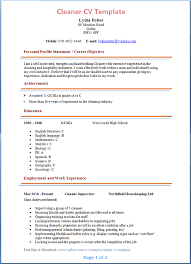 Cleaner CV Template Tips And Download Plaza
