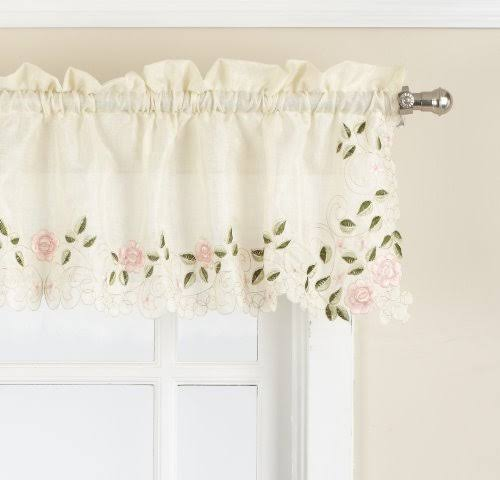 Lorraine Home Fashions Rosemary Tailored Valance 58 by 12-Inch Rose