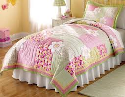 floral pink and green bedding 2pc twin quilt set kids little girls