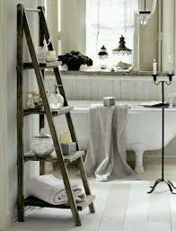 Good Wooden Towel Ladder Both In The Rustic And Modern Bathroom