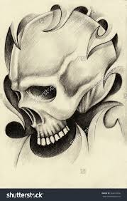 Pencil Drawings Tattoos Skull Tattoohand Drawing On Paper Stock Photo 263619836
