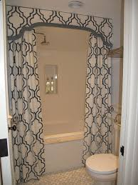 shower valance with curtains transitional bathroom liz caan